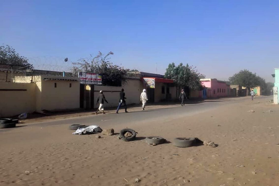 A picture taken on January 20, 2020 shows the area where violence erupted between Arab nomads and members of the non-Arab Massalit ethnic group in El Geneina, the capital of West Darfur [AFP via Getty Images]