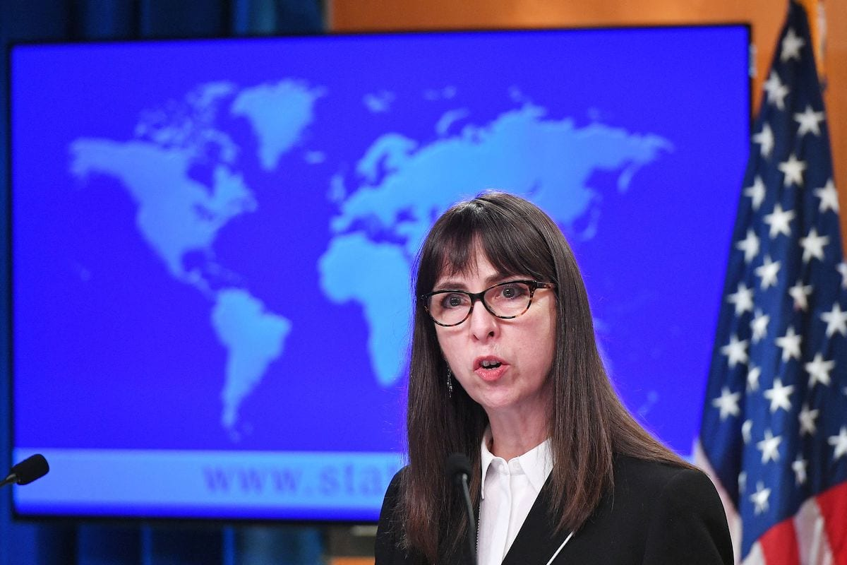 "US Acting Assistant Secretary Lisa Peterson of the Bureau of Democracy, Human Rights, and Labor speaks during the release of the ""2020 Country Reports on Human Rights Practices,"" at the State Department in Washington, DC on 30 March 2021. [MANDEL NGAN/POOL/AFP via Getty Images]"