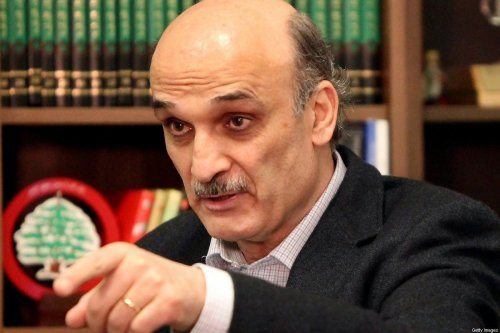 Christian Lebanese Forces party leader Samir Geagea gestures as he speaks during an interview with AFP at his house in Maarab, northeast of Beirut, on April 26, 2012. AFP PHOTO/JOSEPH EID (Photo credit should read JOSEPH EID/AFP/GettyImages)