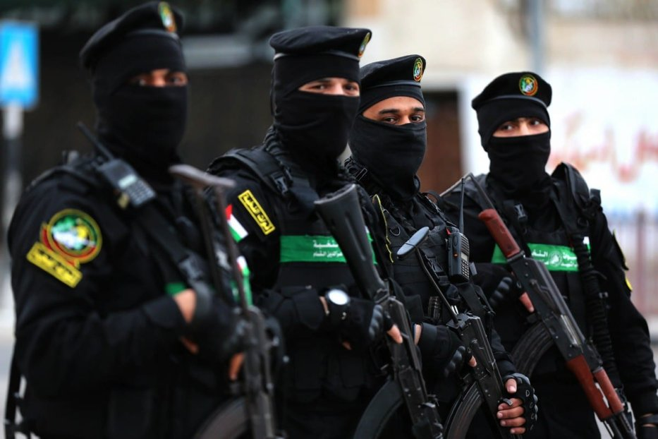 Palestinian group Hamas's military wing, Izz ad-Din al Qassam Brigades, patrol at a street in Gaza City, Gaza on 23 April 2021. [Ashraf Amra - Anadolu Agency]