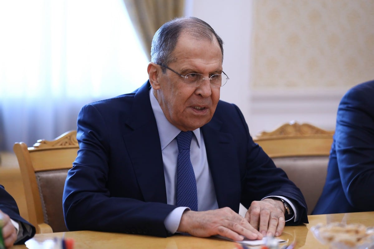 Russian Foreign Minister Sergei Lavrov in Moscow, Russia on April 16. 2021. [Russian Foreign Ministry - Anadolu Agency]