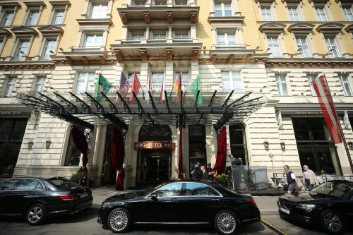 """VIENNA, AUSTRIA - MAY 01: Official cars are seen outside Grand Hotel Wien after a session of meeting of the Joint Comprehensive Plan of Action (JCPOA) on """"Iran nuclear deal talks"""" in Vienna, Austria on May 01, 2021. ( Aşkın Kıyağan - Anadolu Agency )"""