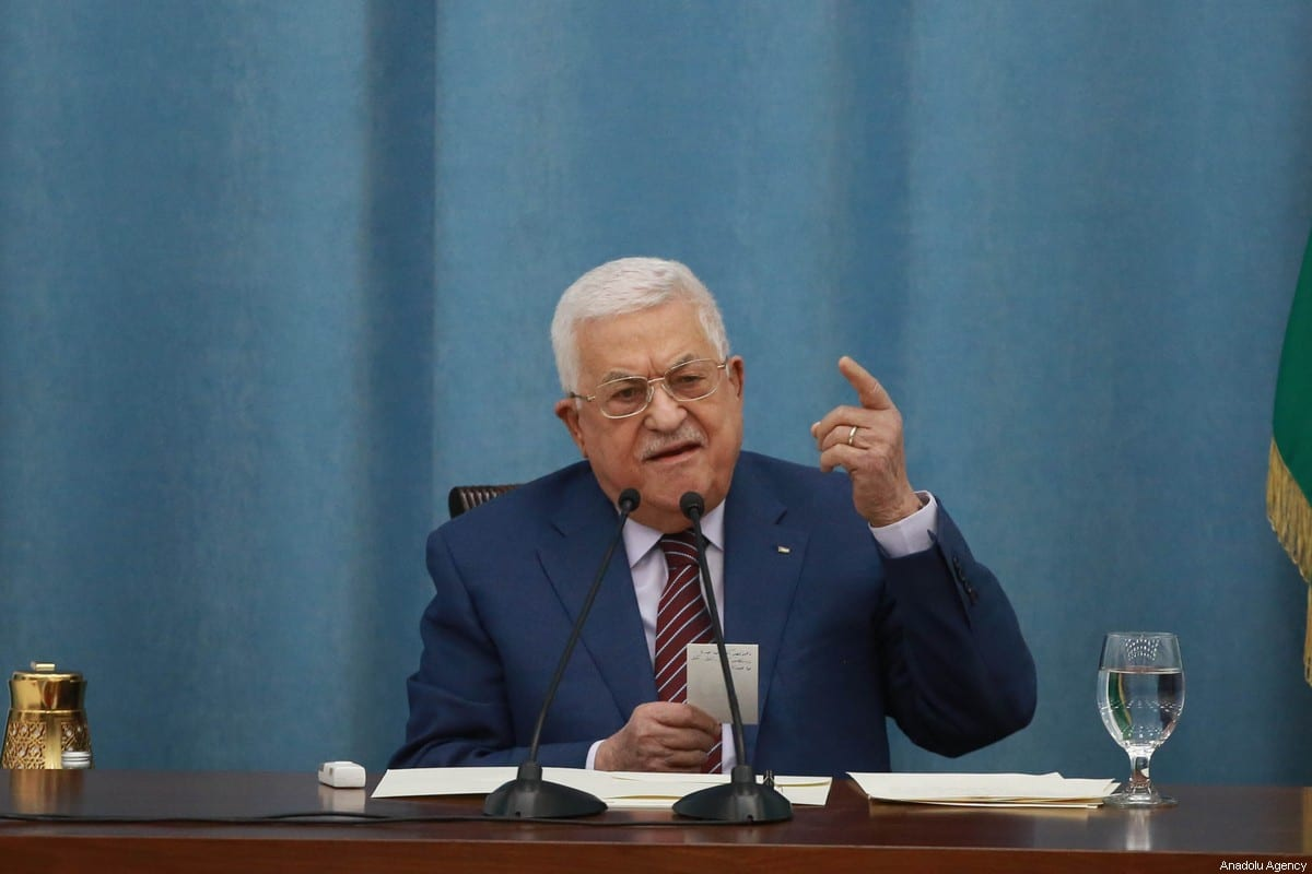 Palestinian President Mahmoud Abbas in Ramallah, West Bank on 12 May 2021 [Issam Rimawi/Anadolu Agency]