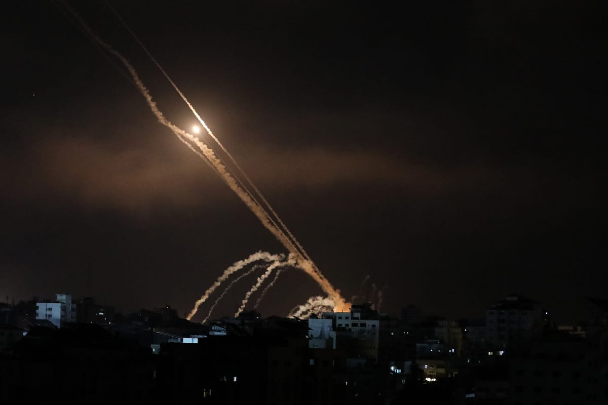 GAZA CITY, GAZA - MAY 15: Rockets are being fired from Gaza targeting Israeli cities in response to Israeli airstrikes on the Gaza Strip, on May 15, 2021. ( Mustafa Hassona - Anadolu Agency )