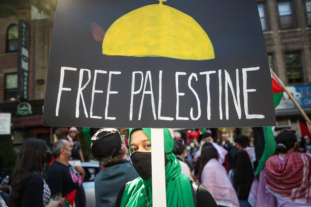 People gather in Brooklyn to demonstrate in support of Palestinians in New York City, United States on May 15, 2021. [Tayfun Coşkun - Anadolu Agency]