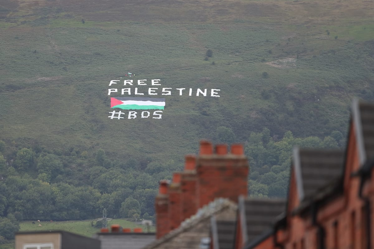 A protest banner against Israel saying Free Palestine on September 11, 2018 in Belfast, Northern Ireland. [James Williamson - AMA/Getty Images]