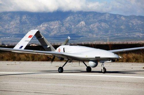 The Turkish-made Bayraktar TB2 drone on December 16, 2019 at Gecitkale military airbase [BIROL BEBEK/AFP via Getty Images]