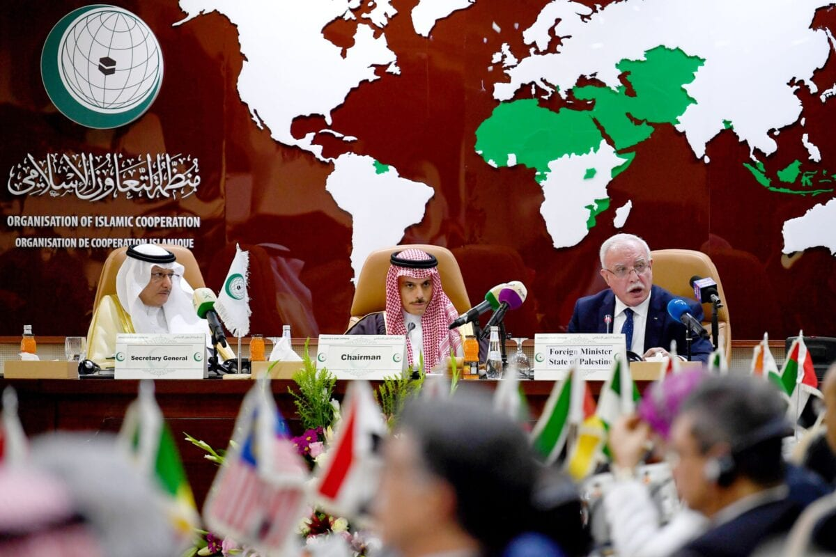Palestinian Foreign Minster Riyad al-Maliki (R) delivers a speech during a meeting of the Organisation of Islamic Cooperation (OIC) in Jeddah on February 3, 2020 [AMER HILABI/AFP via Getty Images]