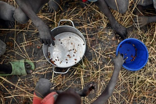 Children collect grain spilt on the field from gunny bags on February 6, 2020 [TONY KARUMBA/AFP via Getty Images]