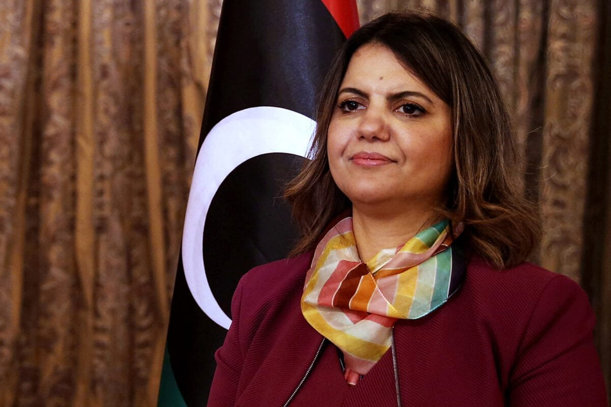 Foreign Minister in Libya's transitional Government of National Unity (GNU) Najla al-Mangoush poses for a picture in the capital Tripoli, on March 17, 2021 [MAHMUD TURKIA/AFP via Getty Images]