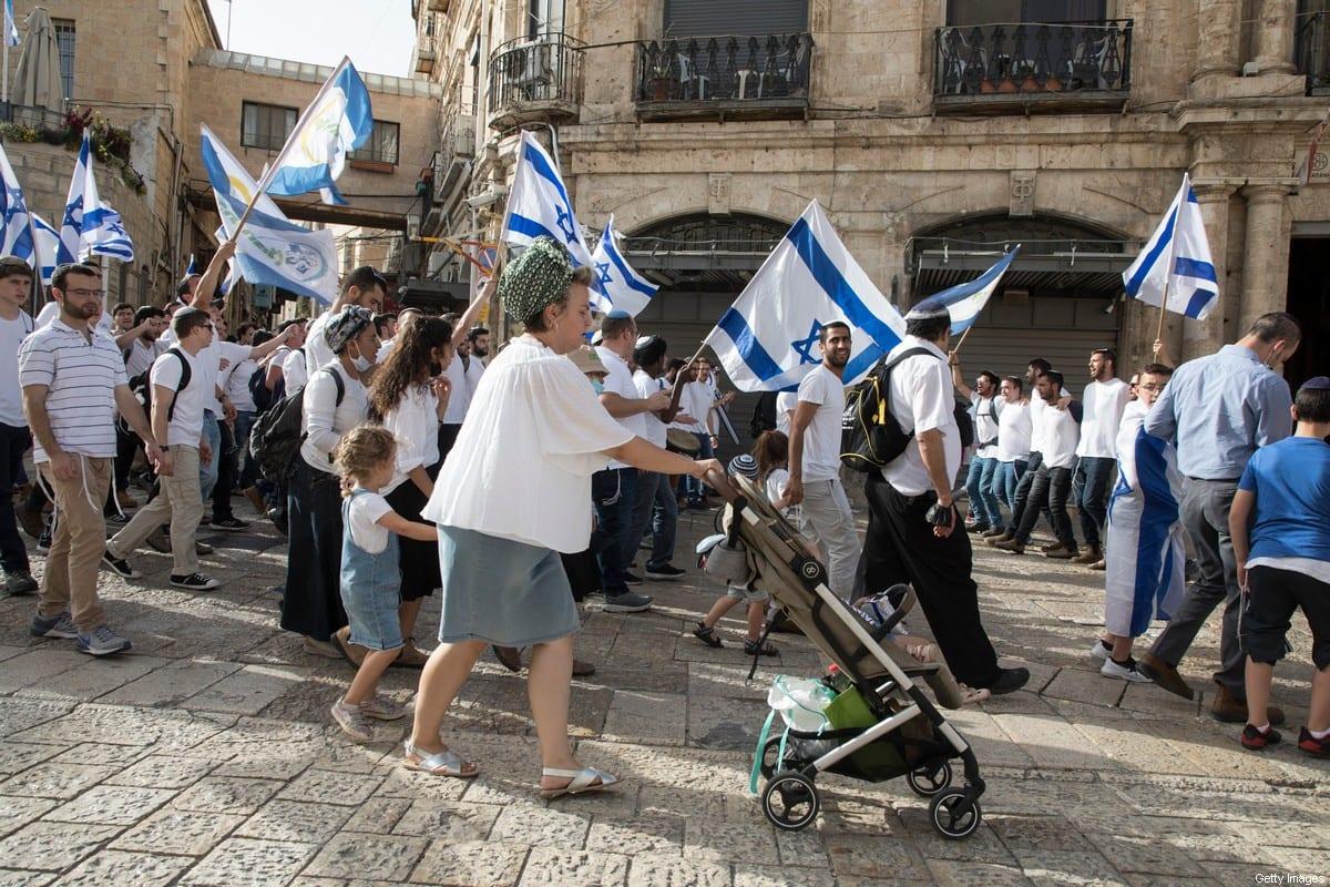 Israeli Jewish families at Damascus Gate in Jerusalem's old city as part of 'Jerusalem Day' events on 10 May 2021 in Jerusalem, Israel. [Laurent Van Der Stockt/Getty Images]