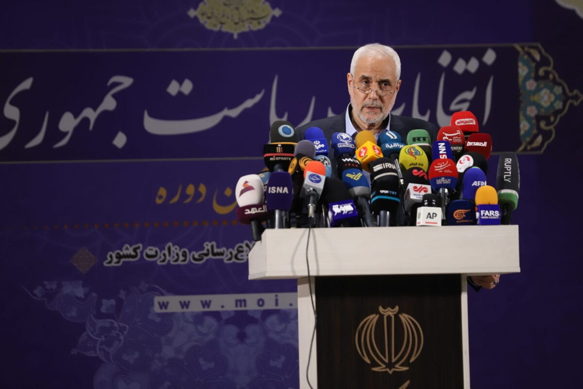 TEHRAN, IRAN - MAY 15: Former Iranian vice president Mohsen Mehralizadeh addresses the media after registering his candidacy at the Interior Ministry candidate on May 15, 2021, in Tehran, Iran. Candidature applications continue in Iran for the Presidential elections to be held on June 18. (Photo by Majid Saeedi/Getty Images)