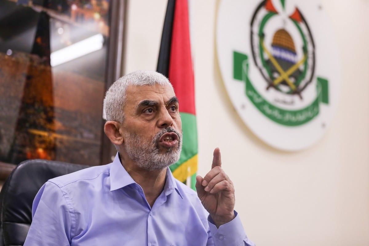 Hamas' Gaza chief Yahya Sinwar speaks to the press in Gaza City, Gaza on May 26, 2021 [Mustafa Hassona / Anadolu Agency]