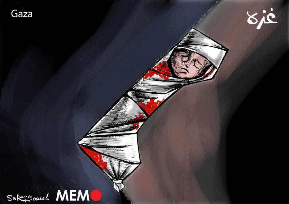 Death toll in Israeli attacks on Gaza Strip keeps rising...- Cartoon [Sabaaneh/MiddleEastMonitor]
