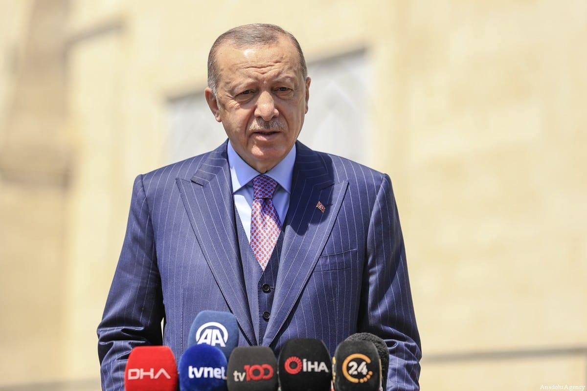 Turkish President Recep Tayyip Erdogan at Hz. Ali Mosque in Uskudar district of Istanbul, Turkey on May 07, 2021 [Serhat Çağdaş/Anadolu Agency]
