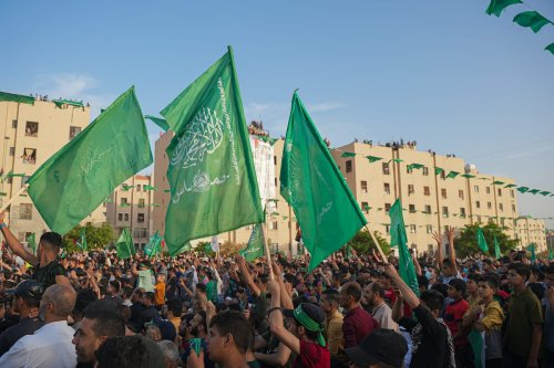 Hamas flags in Gaza on May 30, 2021 [Ömer Ensar - Anadolu Agency]
