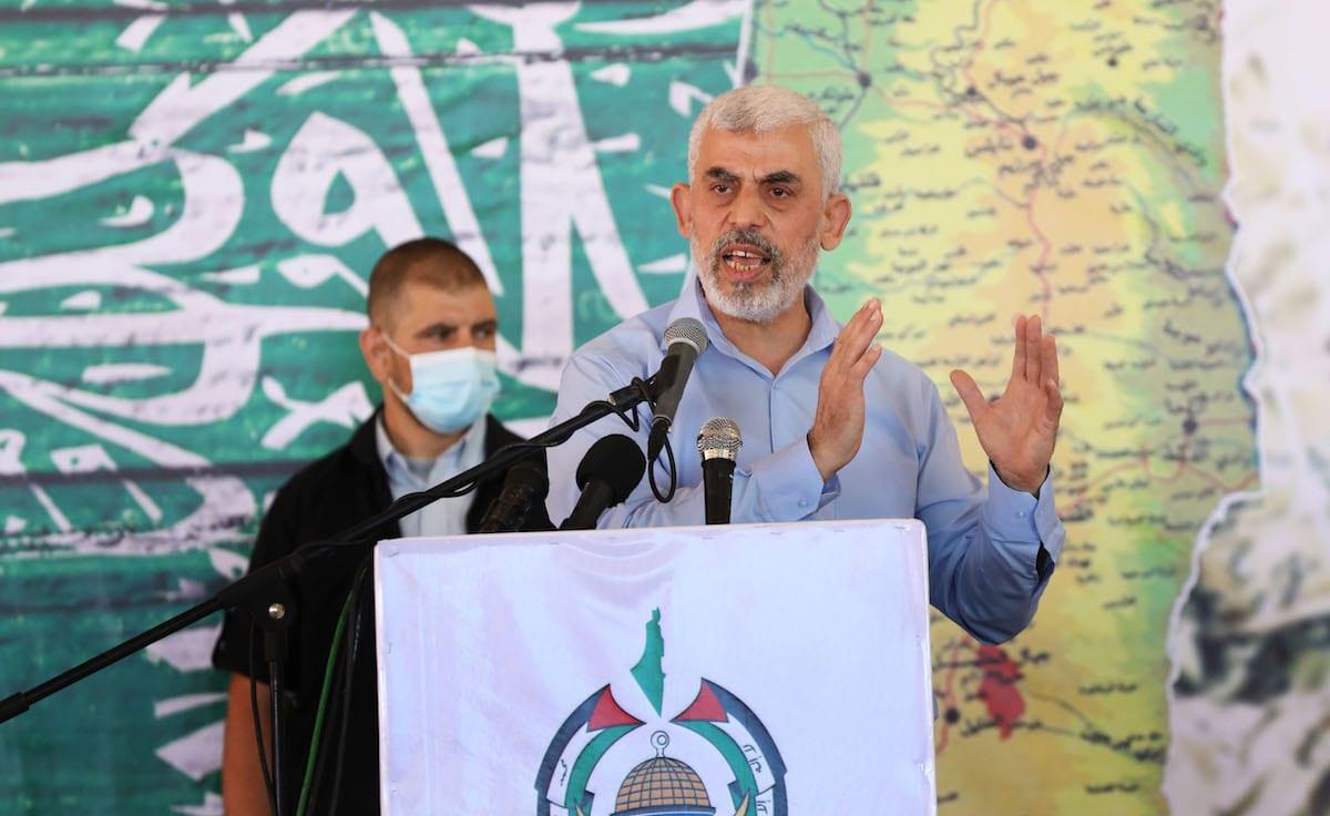 GAZA CITY, GAZA - JUNE 05: Palestinian leader of Hamas Yahya Sinwar makes a speech during his meeting with academicians in Gaza City, Gaza on June 05, 2021. ( Ashraf Amra - Anadolu Agency )