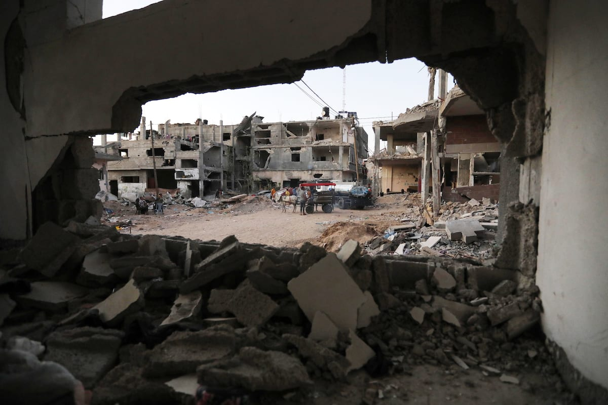 A view from a building damaged by the Israeli attacks in Beit Lahia, Gaza on 7 June 2021 [Ashraf Amra/Anadolu Agency]