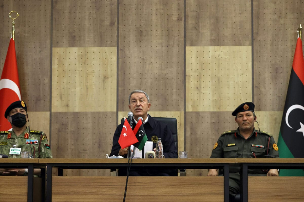 Turkish National Defense Minister Hulusi Akar (C) speaks during his visit to Libya Task Group Command in Tripoli, Libya on June 13, 2021 [Arif Akdoğan/Anadolu Agency]