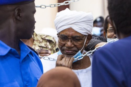 The trial of former Sudanese President Omar Al-Bashir over the 1989 coup that brought him to power in Khartoum, Sudan on 15 June 2021 [Mahmoud Hjaj/Anadolu Agency]