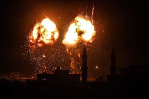 GAZA CITY, GAZA - JUNE 15: Flames are seen after an Israeli air strike hit Hamas targets in Gaza City, Gaza on June 15, 2021. ( Ali Jadallah - Anadolu Agency )