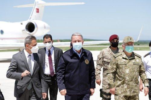 Turkish National Defense Minister Hulusi Akar in Sinop, Turkey on June 18, 2021. [Arif Akdoğan - Anadolu Agency]