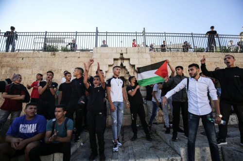 Palestinians stage a demonstration at Damascus Gate in Old City to protest against Jewish settlers' blasphemy of Prophet Muhammad, on June 19, 2021 in Jerusalem [Mostafa AlkharoufAnadolu Agency]