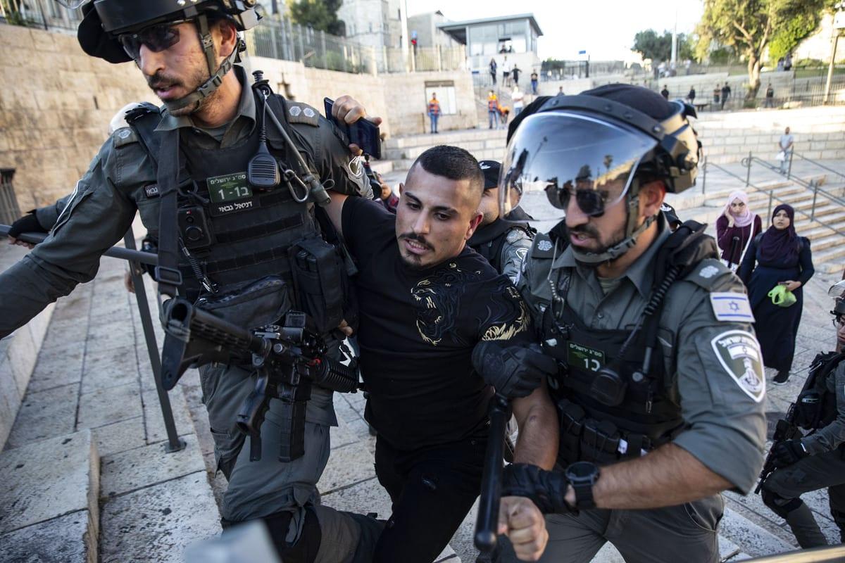Palestinians stage a demonstration at Damascus Gate on June 19, 2021 in Jerusalem [Mostafa Alkharouf/Anadolu Agency]