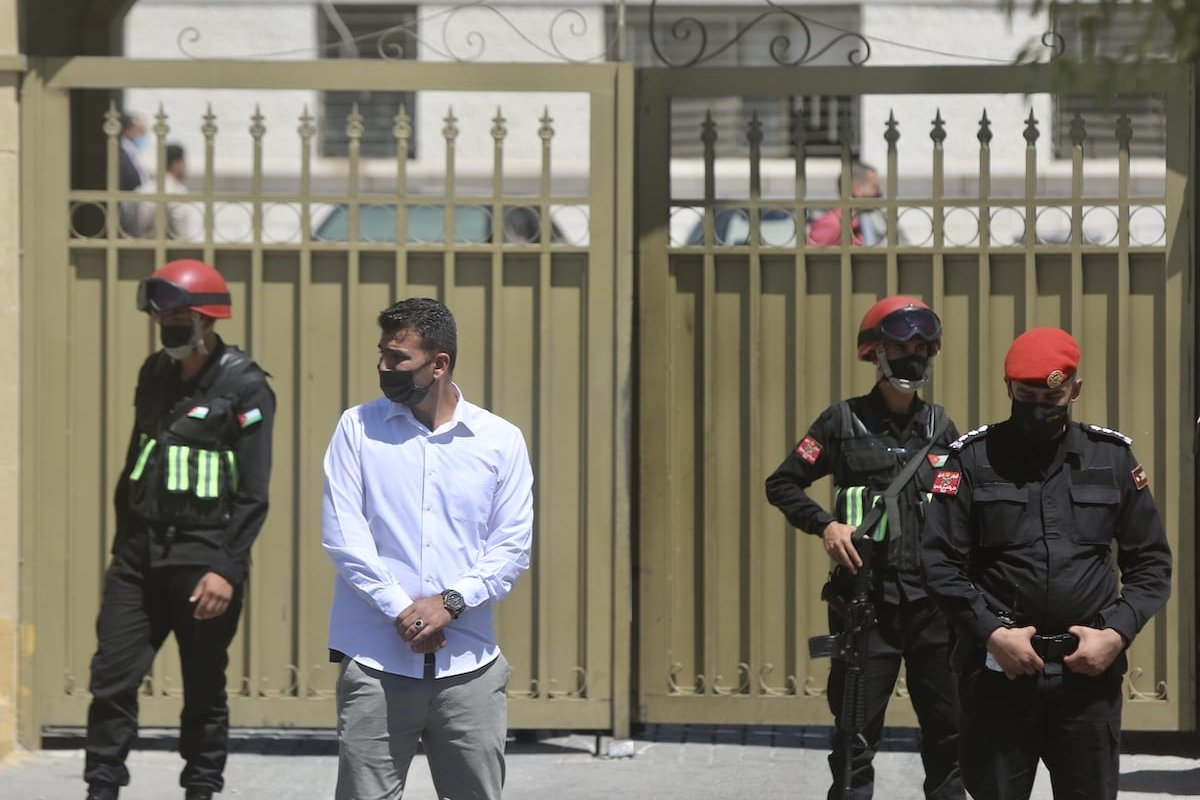 Security measures outside the State Security Court as Jordan begins trial of alleged April coup attempt which former Crown Prince Hamzah bin Al-Hussein was involved, in Amman, Jordan on June 21, 2021 [Mohamad Salaheddin/Anadolu Agency]