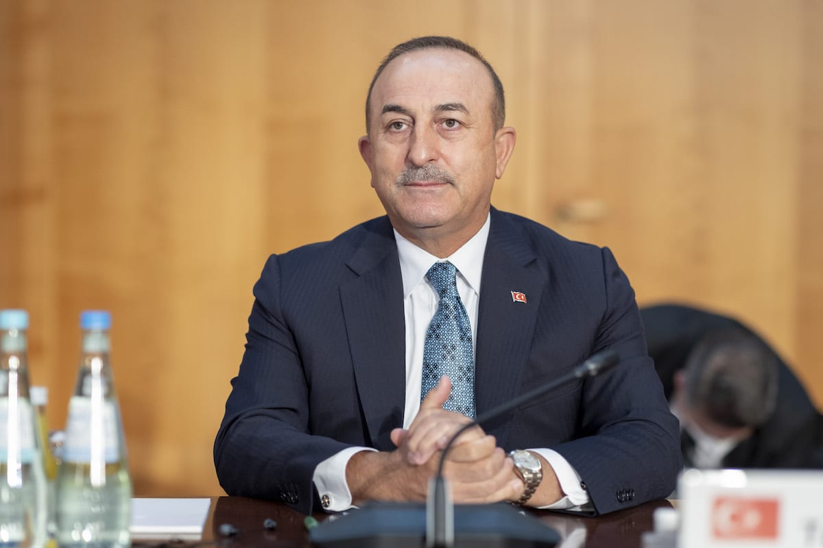 Turkish Foreign Minister Mevlut Cavusoglu attends the Second Berlin Conference on Libya, in Berlin, Germany on June 23, 2021 [Thomas Imo/Photothek de /Pool/Anadolu Agency]
