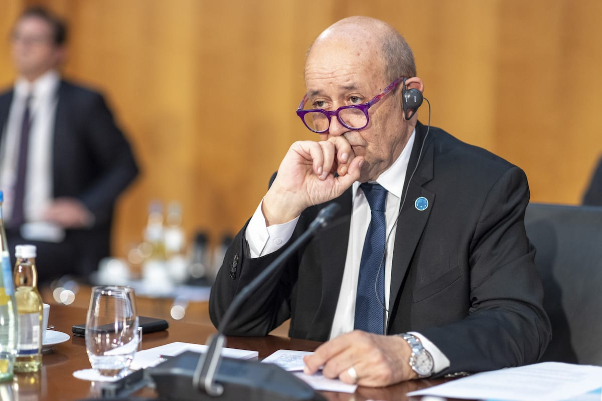 Foreign Minister of France Jean-Yves Le Drian attends Second Berlin Conference on Libya, in Berlin, Germany on June 23, 2021 [Thomas Imo/photothek.de/Pool - Anadolu Agency]