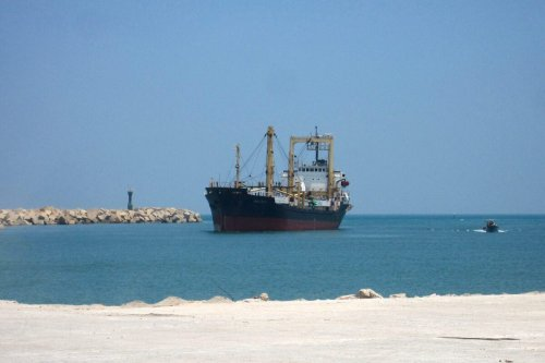 Aid ship at the Egyptian port of el-Arish on July 15, 2010 [AFP via Getty Images]