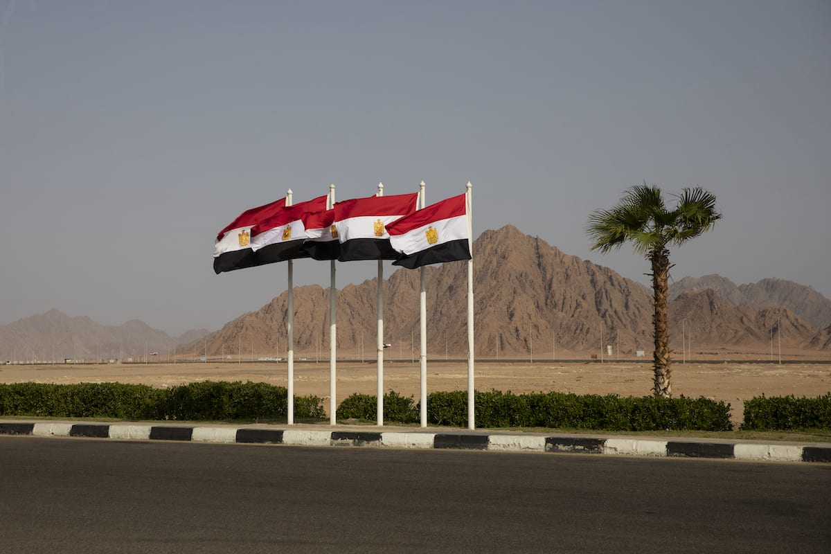 Egyptian flags on February 25, 2019 in Sharm El Sheikh, Egypt. [Dan Kitwood/Getty Images]
