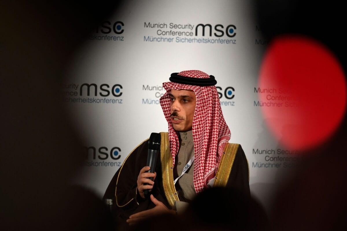 The Foreign Minister of Saudi Arabia Prince Faisal bin Farhan Al Saud attends a panel discussion on February 15, 2020 [THOMAS KIENZLE/AFP via Getty Images]