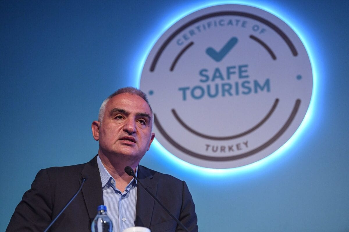 Turkish Tourism Minister Mehmet Nuri Ersoy speaks during an event on June 19, 2020 at Lara district in Antalya [OZAN KOSE/AFP via Getty Images]