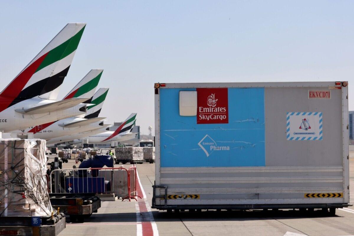 Dubai-based Emirates airline and global logistics giant DP World at Dubai International Airport on February 1, 2021 [KARIM SAHIB/AFP via Getty Images]