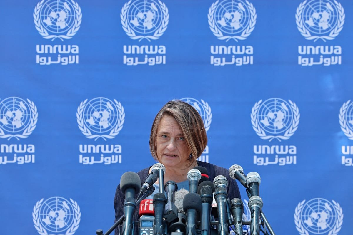 United Nations Office for the Coordination of Humanitarian Affairs (UN OCHA) Humanitarian Coordinator Lynn Hastings speaks during a press conference at the UN compound in Gaza City on 23 May 2021. [EMMANUEL DUNAND/AFP via Getty Images]