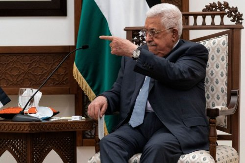 Palestinian president Mahmud Abbas on May 25, 2021 at the Palestinian Authority headquarters in the West Bank city of Ramallah [ALEX BRANDON/POOL/AFP via Getty Images]