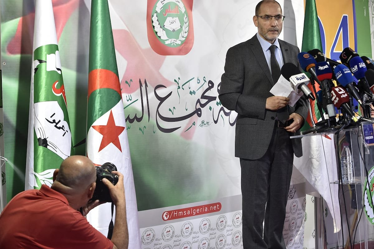 Leader of Algeria's Islamist party, the Movement of Society for Peace (MSP), Abderrezak Mokri holds a press conference at the party's headquarters in the capital Algiers, on 16 June 2021. [RYAD KRAMDI/AFP via Getty Images]