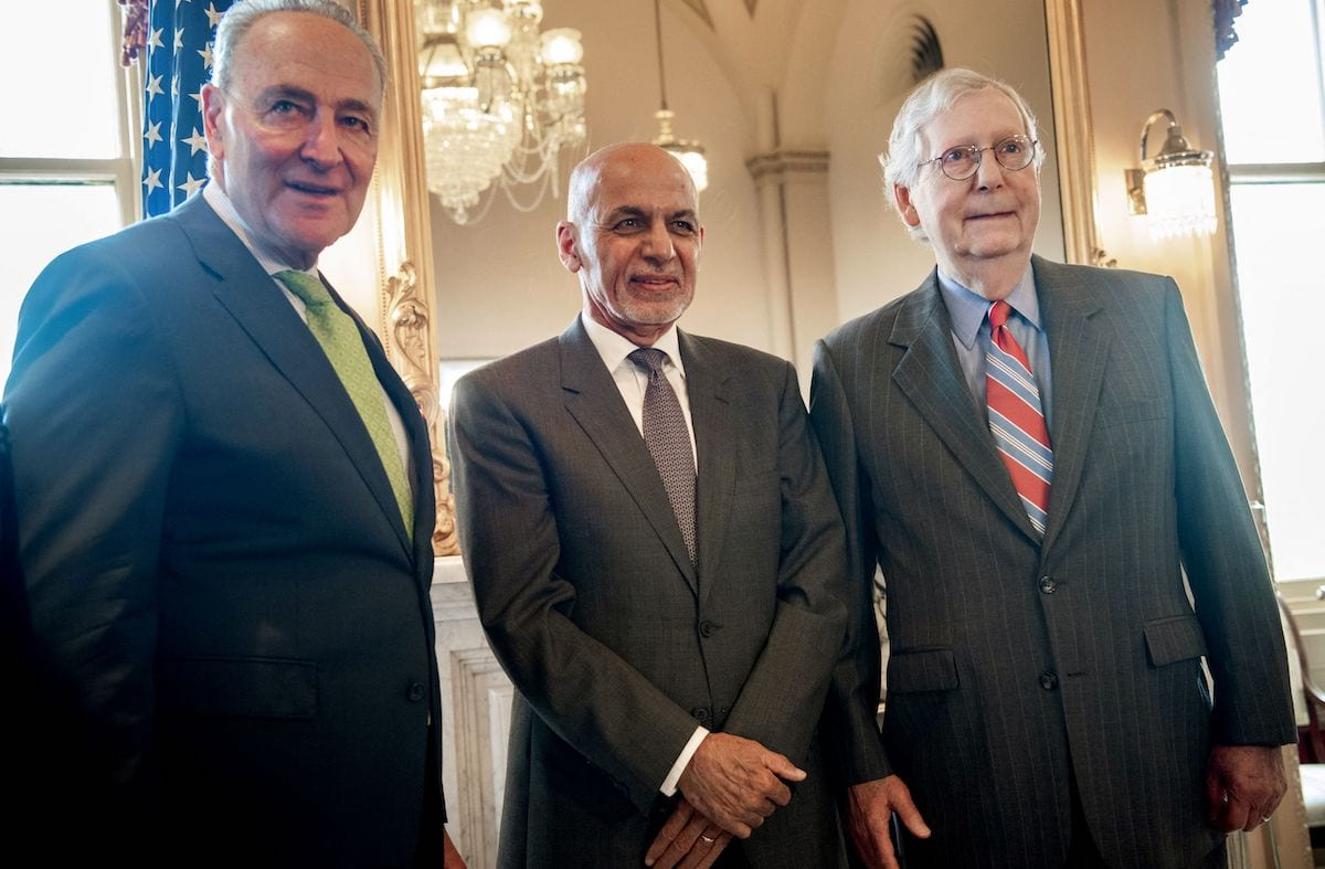 US Senate Majority Leader Chuck Schumer (L), Democrat of New York, and US Senate Minority Leader Mitch McConnell (R), Republican of Kentucky, meet with Afghan President Ashraf Ghani (C) at the US Capitol in Washington, DC, 24 June 2021. [SAUL LOEB/AFP via Getty Images]