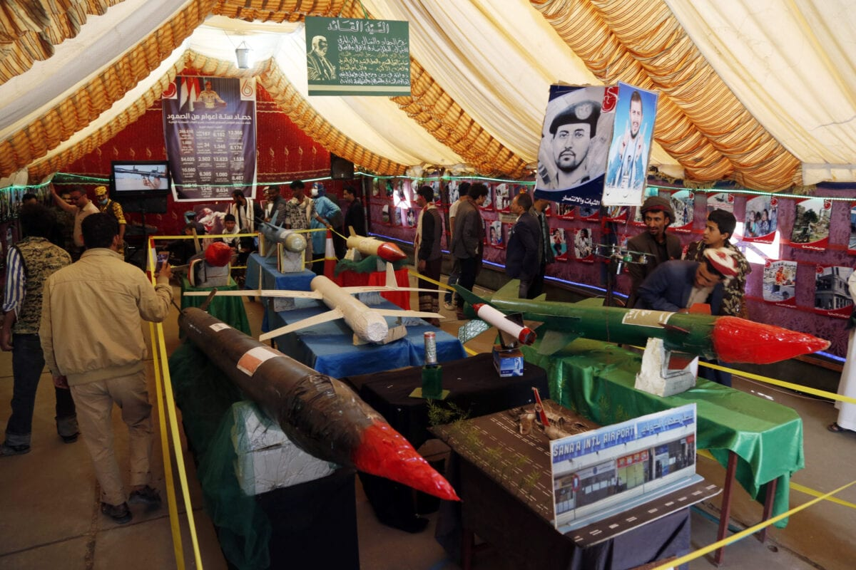 Yemeni people attend an exhibition for copy drones and missiles made by activists, on the occasion of the National Day of Resilience, on March 31, 2021 in Sana'a, Yemen [Mohammed Hamoud/Getty Images]
