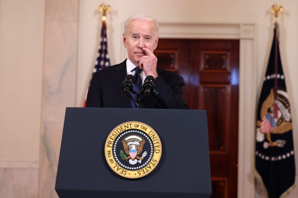 WASHINGTON, DC - MAY 20: U.S. President Joe Biden delivers remarks on the conflict in the Middle East from the White House on May 20, 2021 in Washington, DC. Israel and Hamas announced that they would agree to a cease-fire, which will take into effect on Friday, following days of fighting that claimed more than 200 lives. (Photo by Anna Moneymaker/Getty Images)