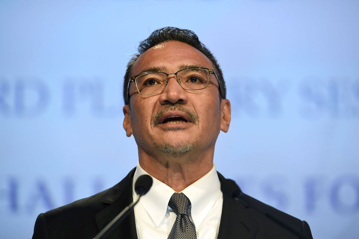 Malaysia's Foreign Minister Hishammuddin Tun Hussein speaks during the third plenary session at the 16th Institute for Strategic Studies (IISS) ShangriLa Dialogue Summit in Singapore on 3 June 2017. [ROSLAN RAHMAN/AFP via Getty Images]