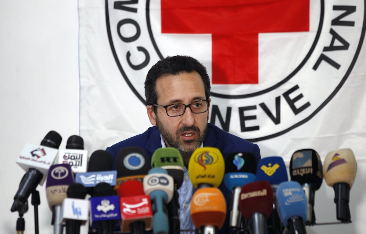 Robert Mardini, head of the International Committee for the Red Cross (ICRC) Middle East and North Africa operations, speaks at a press conference in the Yemeni capital Sanaa on July 27, 2017. [MOHAMMED HUWAIS/AFP via Getty Images]