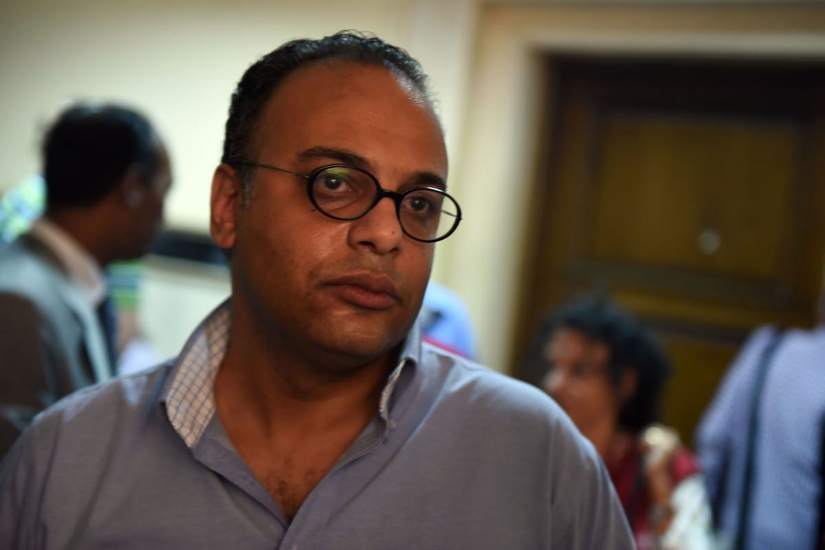 Director of the Egyptian Initiative for Personal Rights, Hossam Bahgat in Cairo on 20 April 2016 [MOHAMED EL-SHAHED/AFP/Getty Images]