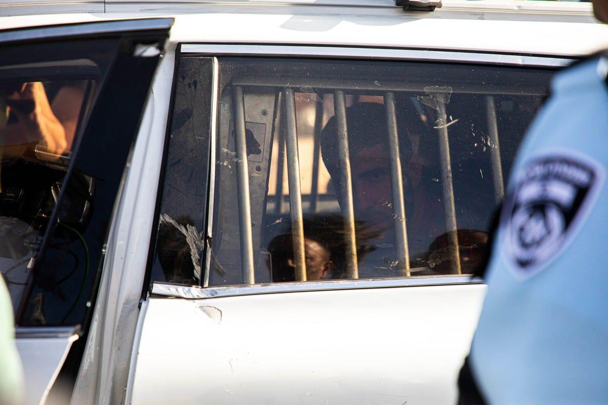JERUSALEM - JUNE 10: Israeli forces take a Palestinian into custody after Palestinians react to the right-wing extremist close to Israeli Prime Minister Benjamin Netanyahu, Israeli Deputy Itamar Ben-Gvir's speech at Damascus Gate in Jerusalem on June 10, 2021. ( Eyad Tawil - Anadolu Agency )