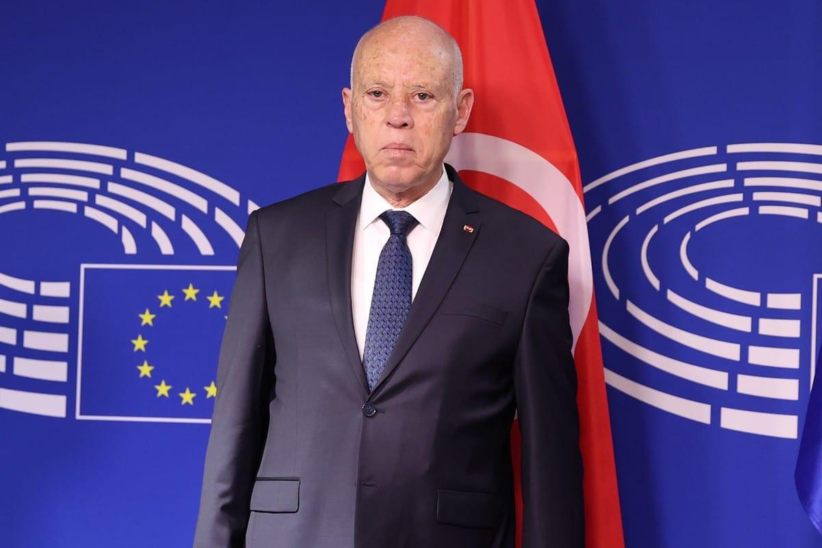 President of Tunisia Kais Saied in Brussels, Belgium on June 04, 2021. [Dursun Aydemir - Anadolu Agency]