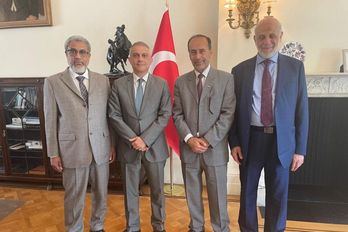 From left, MEMO Director Dr Daud Abdullah, Turkish Ambassador to the UK Umit Yalcin, Chairman of EuroPal Forum Zaher Birawi and Chair of the Palestinian Forum in Britain Dr Hafez Al-Karmi in London on 16 June 2021 [Middle East Monitor]