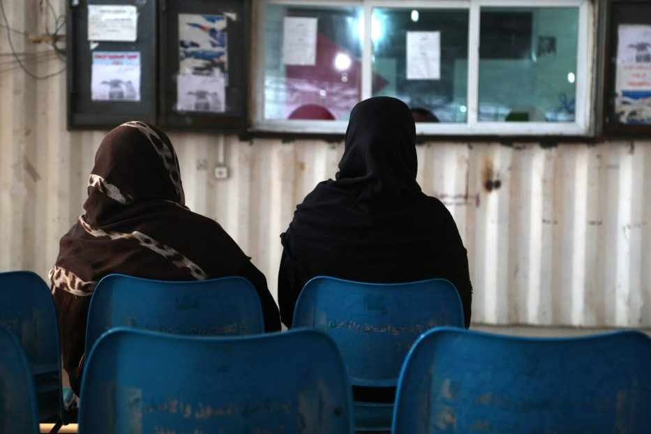 Palestinian mothers waiting at the border to leave Gaza for treatment [WHO/Palestinian Center for Human Rights]