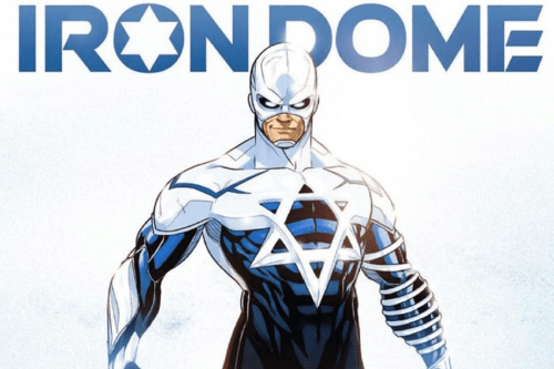 StandWithUs posted an image on Twitter of an idealised Israeli superhero named after the state's air defence system - the Iron Dome [@StandWithUs/Twitter]